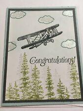 Stampin Up Handmade Greeting Graduation Card Airplane