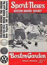 Dec 19, 1965 Boston Bruins Vs Toronto Maple Leafs Program NHL Sawchuck Bucyk