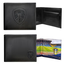 Leeds United AFC Official Football Gift Embossed Crest Wallet Black