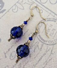 ROYAL BLUE VINTAGE STYLE EARRINGS- SWAROVSKI ELEMENTS