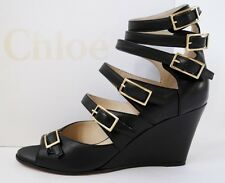 CHLOE UK4 US7 EU37 BLACK LEATHER MULTI-BUCKLE STRAP WEDGE HEELS SANDALS