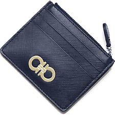Salvatore Ferragamo Blue Saffiano Leather Card Case Wallet