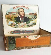 Antique Cigar Box Francisco Sanchez Wood Rare 18th District Ohio Factory