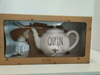 Rae Dunn Queen Bee Teapot And Honey Bee Pot Gift Set Brand New Free Shipping