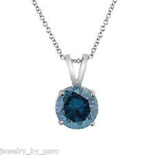 PLATINUM ENHANCED BLUE DIAMOND SOLITAIRE PENDANT NECKLACE 1.00 CARAT