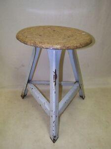 Old Garage Stool, Designer Stool, Wood BAR Stools Metal Vintage Art Deco