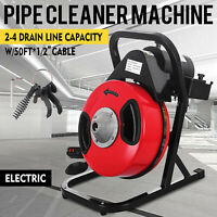SEWER SNAKE 50FT 1/2''Electric Auger Drill Drain Cleaner Machine W/ 4 Cutter