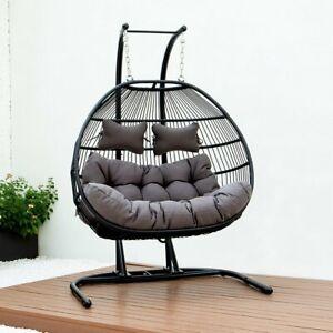 Double Egg Swing Rattan Indoor & Patio Garden Hanging Chair w/Cushion Outdoor