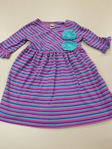 Dollie and Me Size 6 Striped Dress 3/4 Sleeves Tie Back