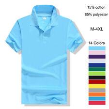 Cotton Polyester Plain Solid Collared Shirt Men's T-shirt 3 Button Short Sleeve