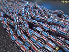 "8 x 6mm 5L Black, White, Red & Blue Ceramic Glass Chevron Beads - 10"""
