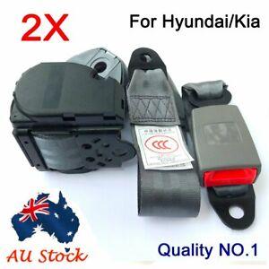 For Hyundai Kia Grey Universal 3-Points Retractable Car Truck Seat Lap Sash Belt