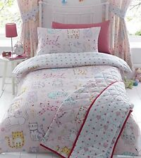 DOUBLE BED DUVET COVER SET CATS PINK DUCK EGG HEARTS FLORAL DOTS MULTI KIDS