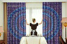 Indian Elephant Mandala Window Door Balcony Curtain Drape 2 Valance Curtains Set