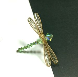Vintage ARTISAN Swarovski Crystal DRAGONFLY Brooch Glitter Wings Gold PL PP107E