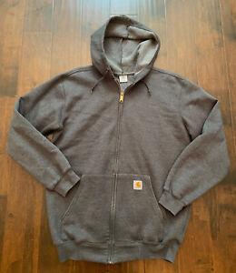 Carhartt Mens Rain Defender Heavyweight Loose fit Hooded Zip Sweatshirt Gray M