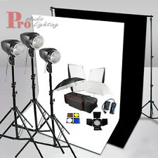 540W Photo Studio Flash Lighting Kit Black White Backdrop Background Stand Set