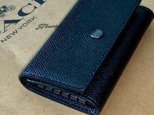 NWT COACH 73992 FIVE RING KEY CASE Crossgrain leather Key Ring Black