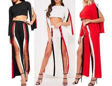 Stripe Popper Panel 2 Piece Co-Ord Set Flare Sleeve Crop Top Split Trouser Cheap