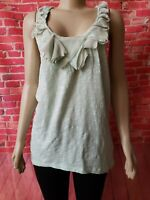 Anthropologie Vanessa Virginia Ruffle Women's Tank Top Green Knit Sz M NWOT