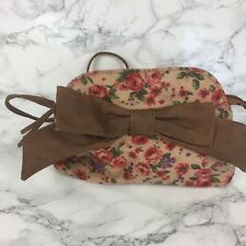 Ladies Shouder Bag Floral Tan Straps And Bow Small Size Atmosphere Brand