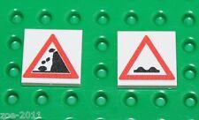 Lego 2x White Tile 2x2 Custom Printed Road Sign NEW!!! 14
