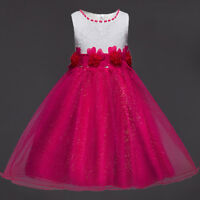 Ball Gown Princess Girls Dress Lined Sparkly Wedding Birthday Party Kids Clothes