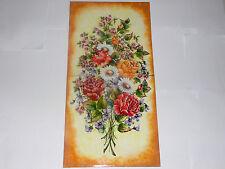 pannello 35cmx70cm- (2 mattonelle )  fiori  di primavera  dipinto a mano Deruta