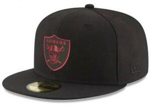 Official Oakland Raiders NFL Basic Fashion Black Red New Era 59FIFTY Fitted Hat