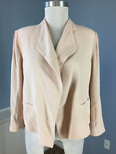 CAbi light pink crepe blazer Jacket Career Cocktail Excellent M open 3/4 sleeve