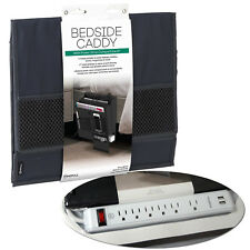 Bedside Caddy w/ Power Strip Outlet Bed Sofa Couch Rest Pocket Organizer Storage