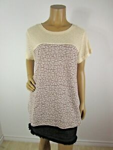 Kori America Cream Brown Stripe Knit Top With Daisies Size Large Short Sleeves