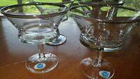Vintage Champagne glasses Sherbet Ice cream dish platinum trim 4 Contessa Italy