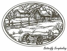 Farm And Wagon In Oval, Wood Mounted Rubber Stamp NORTHWOODS - NEW, P9632