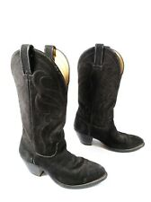 VINTAGE LAREDO Cowboy Boots Western Black Suede Leather & Stitch USA Women's 5M