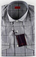 NWT ISAIA DRESS SHIRT checks blue green white luxury handmade Italy 40 15 3/4