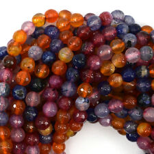 "6mm faceted agate round beads 14.5"" strand multicolor S2"