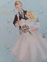 1950s Vtg Darling BRIDE & GROOM WEDDING Congratulations GREETING CARD