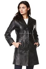 Ladies Leather Coat Black Soft Real Leather Classic Slim Fit Trench Coat 3457