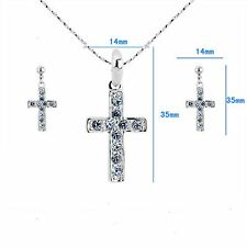 "Elegant ""Latin Cross"" Lady Rhinestone Jewelry Set #JS100213 christian symbol"