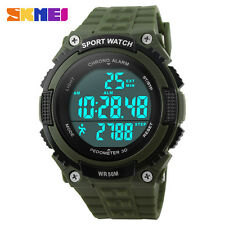 Mens Pedometer Cool Digital Watches Womens 5ATM Waterproof Sports Smart Watch