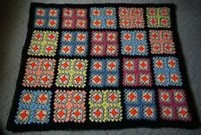 Granny Square Crochet  Afghan Lap Blanket Throw 52 x 44 inches Black Background