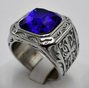 MEN RING BLUE SAPPHIRE STAINLESS STEEL SILVER CROSS SQUARE SOLITAIRE CHRIST SZ 8