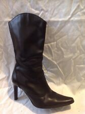 Dorothy Perkins Black Mid Calf Leather Boots Size 3