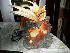 Dragon Statue Lighted Mural Skull Crystal Ball 10 1/2 inches high