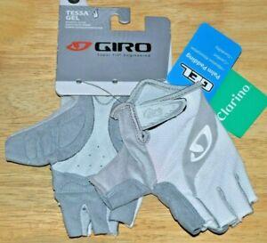 giro womens tessa gel gloves white gray large soft shell cycling clarino leather