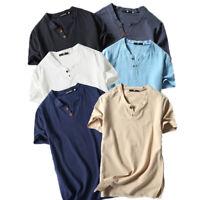 Men Casual Short Sleeve T-Shirt Linen Cotton Summer Clothing Tops Blouse Tee VP