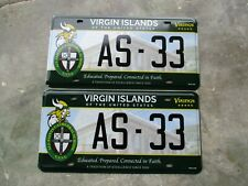 US Virgin Islands all Saints Cathedral School license plate pair  #   33