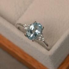2.15 Ct Genuine Diamond Engagement Ring 14K White Gold Aquamarine Rings Size O P