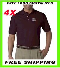 Buy 4 Custom Embroidered - FREE DIGITIZER -Polo Shirts- Business-Golf Embroidery